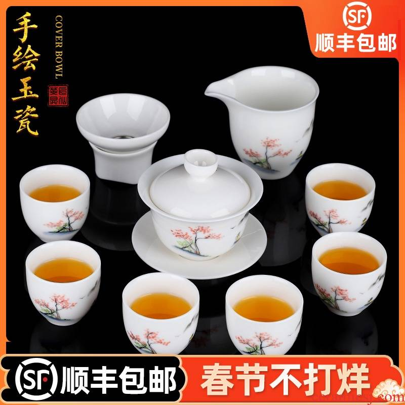 Artisan fairy hand - made dehua white porcelain tea set home sitting room is contracted tureen box office to receive a visitor