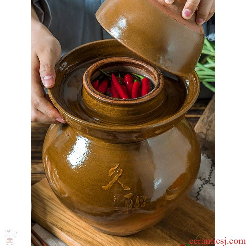 L wei heng tao household sauerkraut pickle jar glass ceramic pickles old pickled in high - grade small salted duck dense eggs