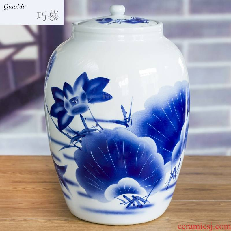 Longed for home opportunely ceramic 50 kg/barrel oil drum it how medicine hip ricer box storage bottles with cover