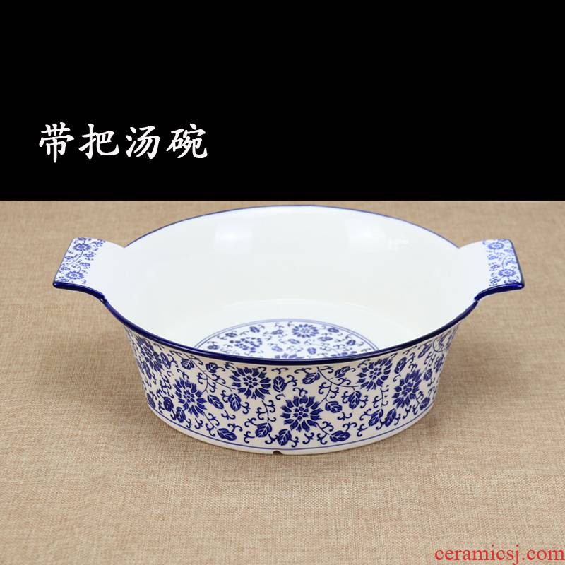 Blue and white porcelain with soup bowl ears home against popular spicy hot boiled fish pickled fish bowl hair blood boiler bowl