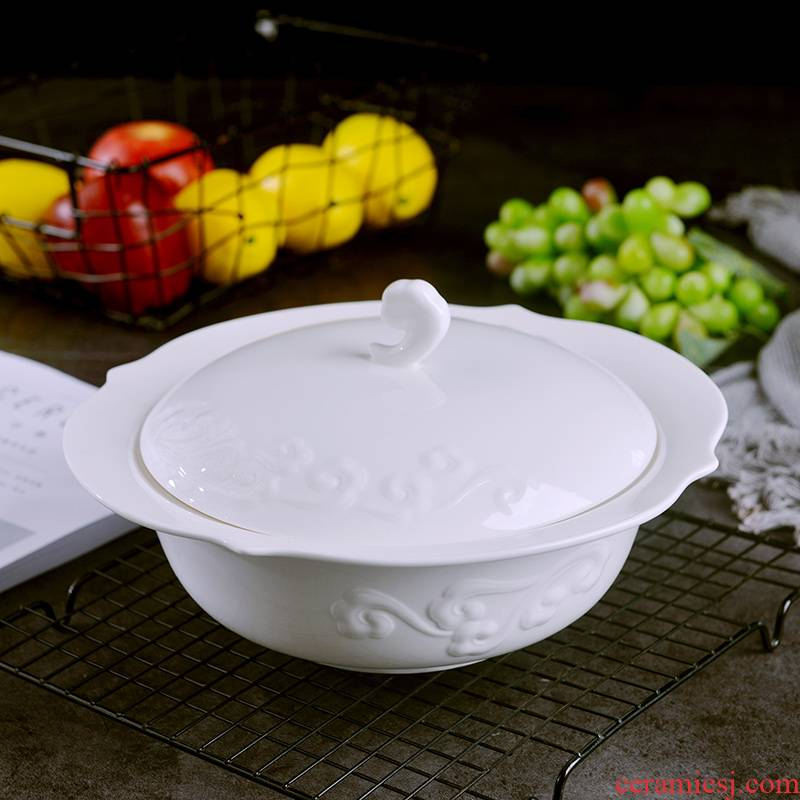 Household under the glaze see colour xiangyun ipads porcelain soup pot creative design large soup basin ceramic bowl with a lid can match the big spoon