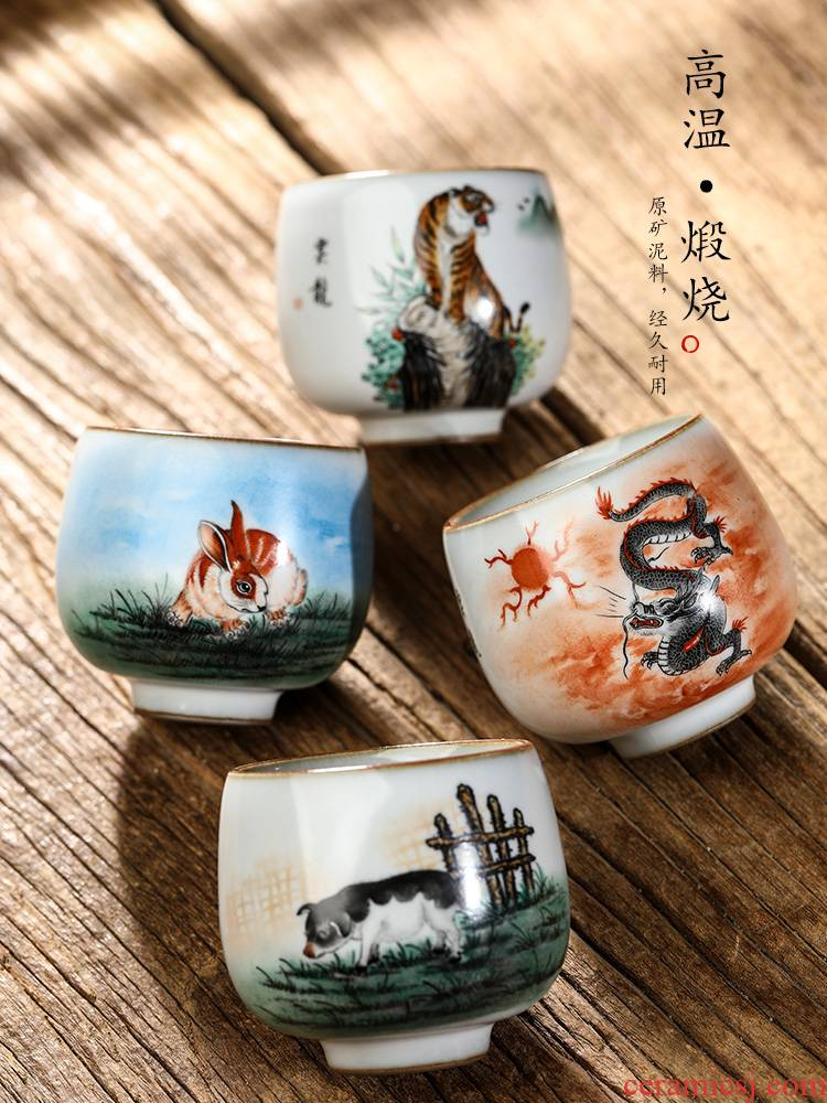 Your up with jingdezhen ceramic tea set master cup single cup men 's hand - made big kung fu tea sample tea cup only