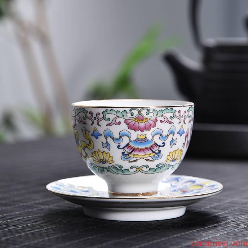 Hui shi tea colored enamel hand - made ceramic cups sample tea cup kung fu tea cups of tea cup single CPU