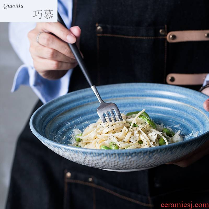 Qiao mu ou expressions using thread shallow bowl of fruit salad bowl ceramic bowl with large round dish bowl such as always