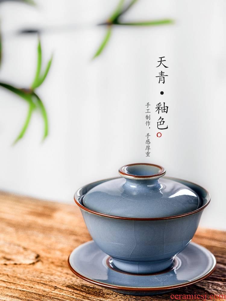 Jingdezhen tea set three just tureen tea cups large pure manual not hot from the azure glaze teacup