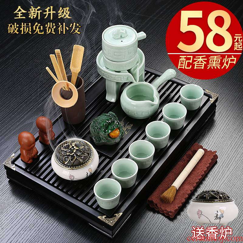 Hui shi ceramic kung fu tea set home sitting room of a complete set of tea cups office drawer small wood tea tray