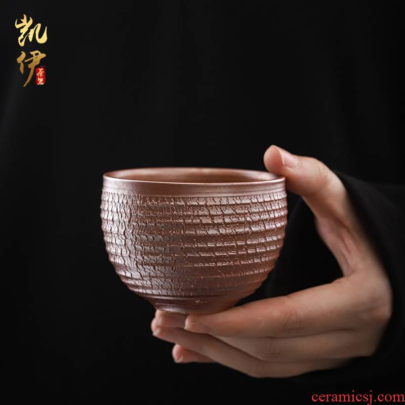 He Zhi - manually pull embryo firewood compensated boring cup coarse pottery cups personal single cups of tea cup, ceramic tea set the master