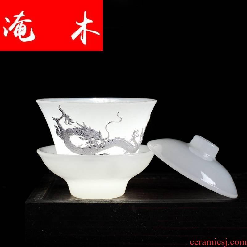 Flooded wood tureen jingdezhen kung fu tea tea cups coloured glaze jade porcelain dielectric ceramic three of the bowl bowl bowl sets