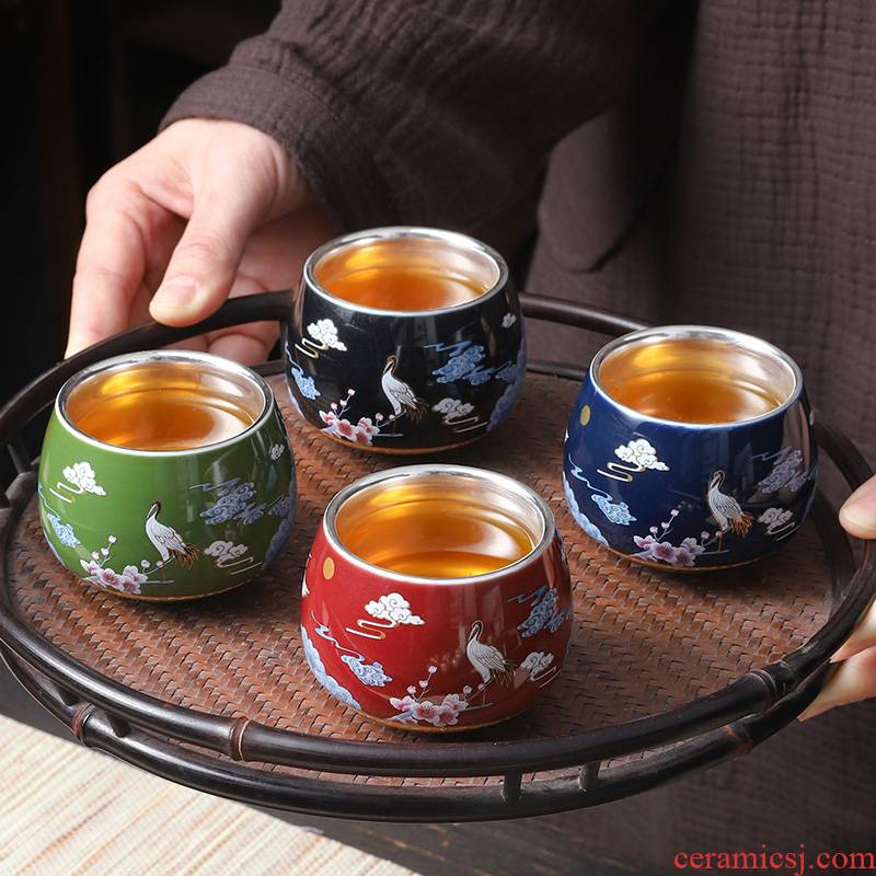 "High - grade ceramic coppering. As silver cup noggin kung fu tea tea sets sample tea cup, master cup single cup ""women for men"