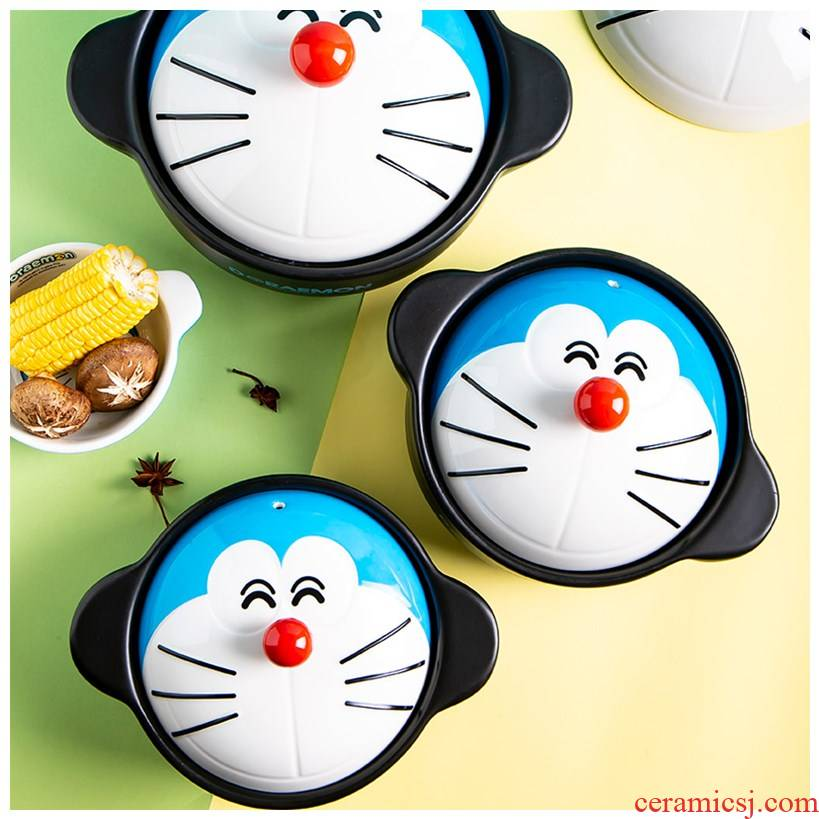 Doraemon ceramic casseroles, high - capacity fire high - temperature cooking porridge soup pot stew pot soup boil household kitchen'm burning gas