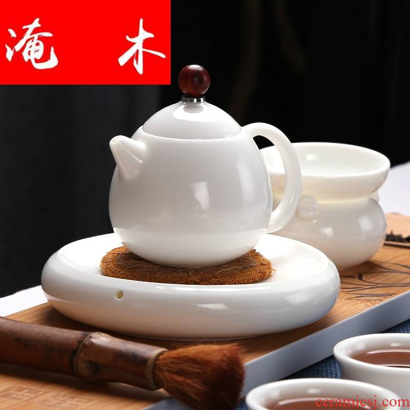 Submerged wood, jade porcelain teapot ivory white teapot dehua white porcelain small filter single pot ceramic checking xi shi pot