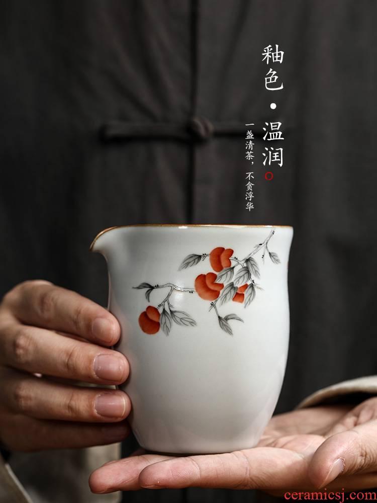 Jingdezhen hand - made persimmon your up checking ceramic fair keller implement a single heat kung fu tea tea can keep