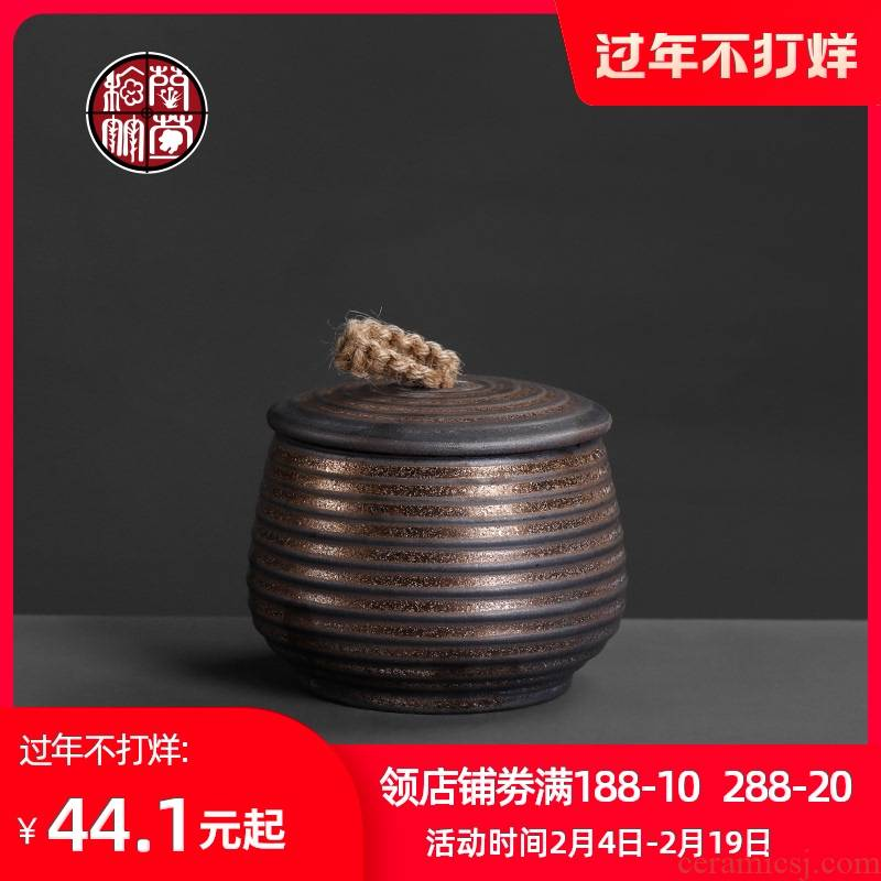 Coarse pottery caddy fixings number seal tank storage POTS ceramic retro household containers of tea storage tank