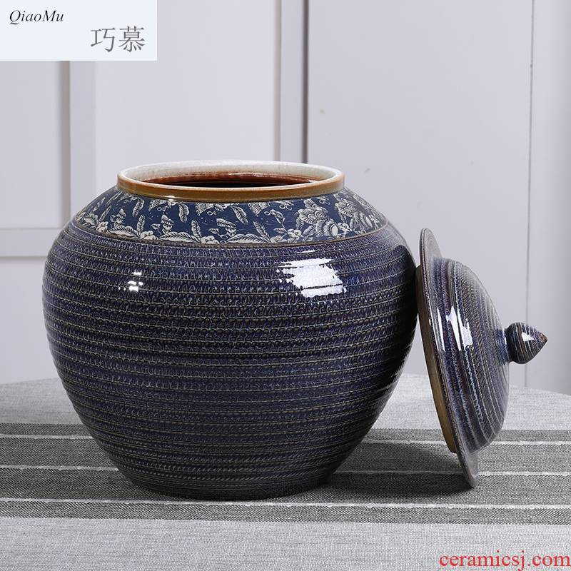 Qiao mu barrel ceramics with cover household jingdezhen up 50 kg 100 jins seal large capacity storage tank