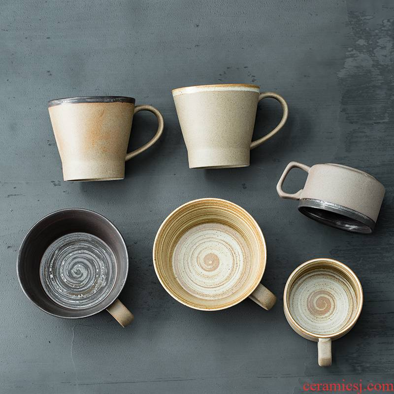 Japanese coarse pottery checking out creative picking cups of coffee cup retro move breakfast milk cup art mugs