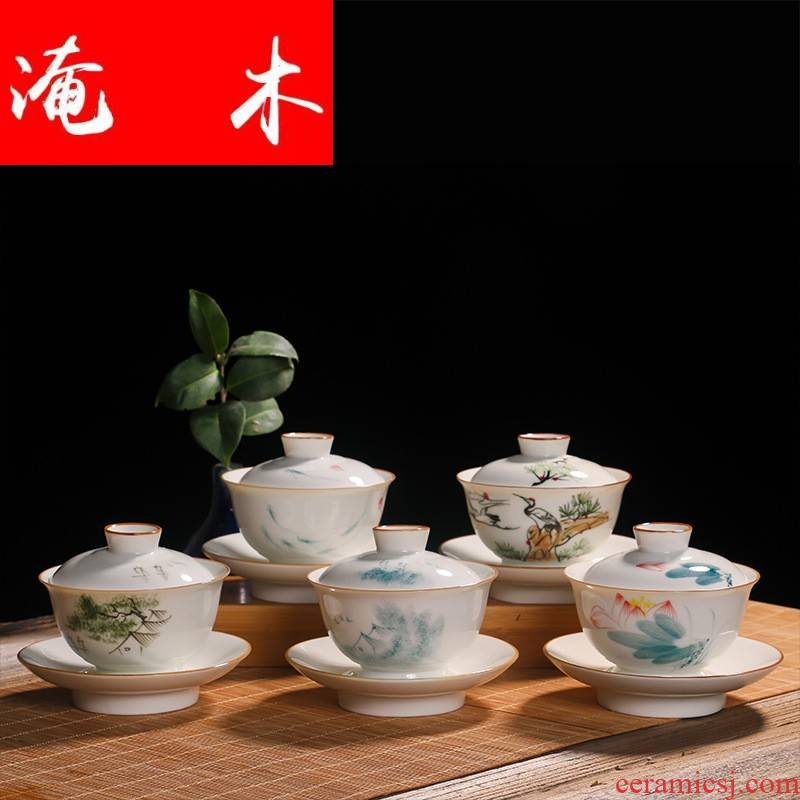 Submerged wood notes tureen large spill jingdezhen ceramic tea cup tea bowl hand - made pastel fat white three bowls