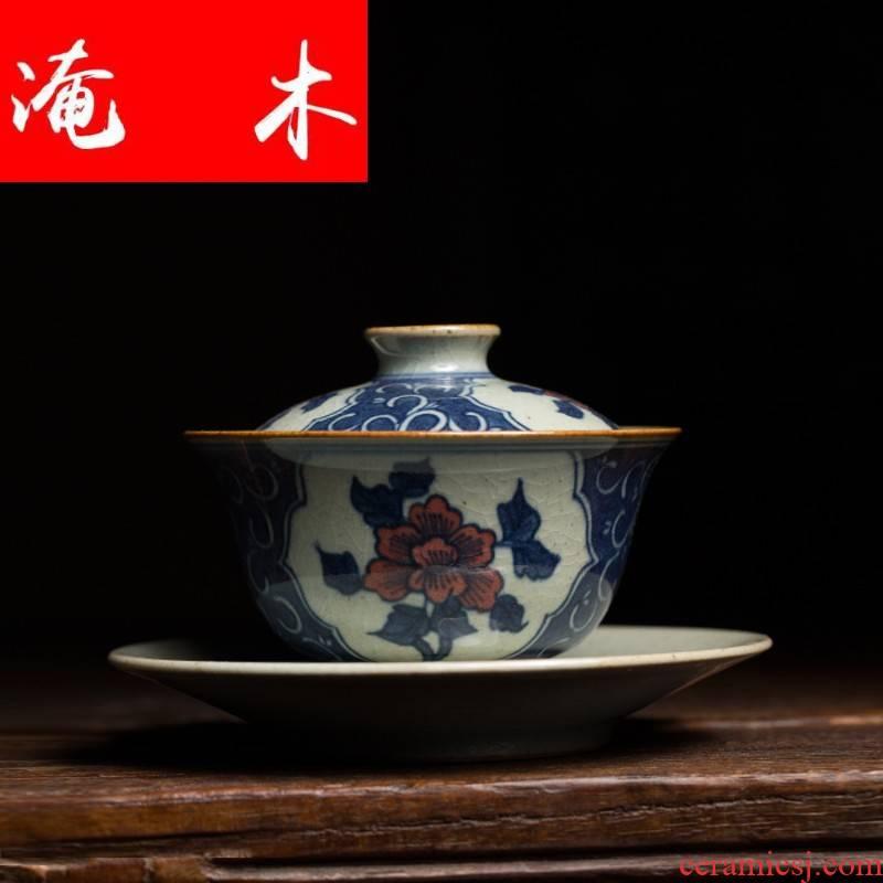 Submerged wood jingdezhen blue and white tureen large youligong hand - made tureen tea bowl cover glass ceramic kunfu tea cups