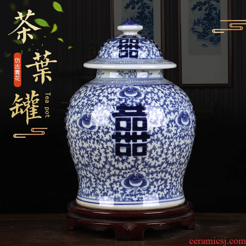 Jingdezhen blue and white happy character vase home sitting room adornment of blue and white porcelain tea storage Chinese ceramic furnishing articles