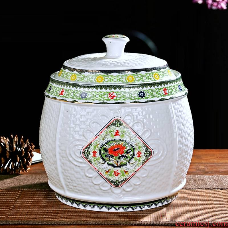 Qiao mu ceramic barrel rice bucket storage bins insect - resistant moistureproof with cover housewarming gift jingdezhen flour barrels of marriage