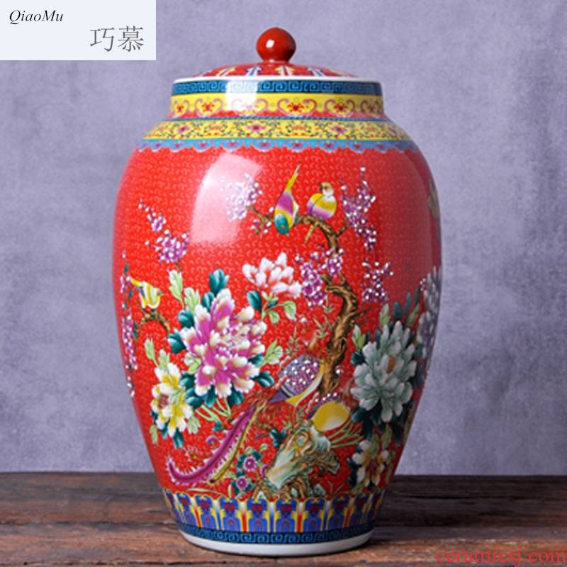 Qiao mu jingdezhen ceramic barrel ricer box 20 jins 30 jins with household moistureproof with cover cylinder cylinder storage tank surface of cylinder