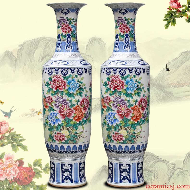 Jingdezhen ceramic powder enamel vase peony flowers prosperous big household furnishing articles sitting room of large hotel decoration