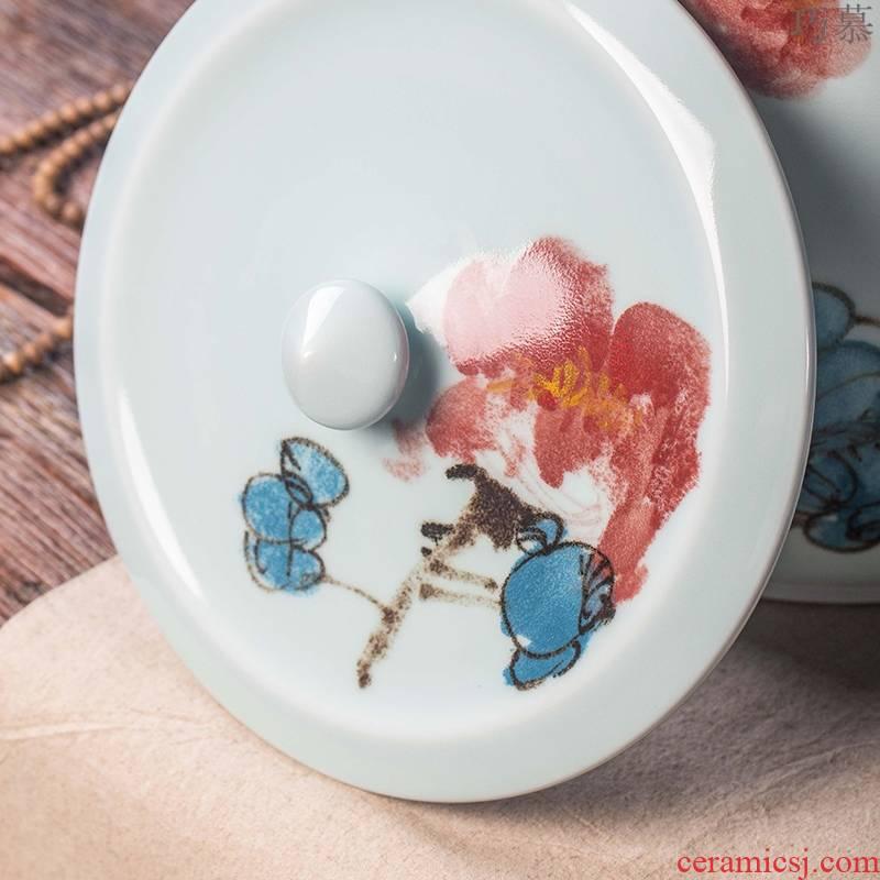 30 jin qiao mu jingdezhen ceramic barrel 50 pounds with cover seal storage tank seal tank mesa porcelain arts and crafts