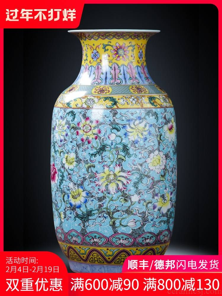 Jingdezhen ceramics colored enamel of large vase furnishing articles of new Chinese style flower arrangement sitting room TV ark, household act the role ofing is tasted