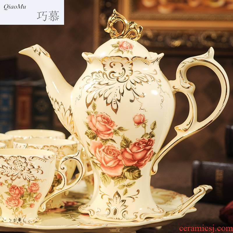 Qiao mu English afternoon tea coffee cup suit household contracted Europe type ceramic tea set with tray was I the teapot