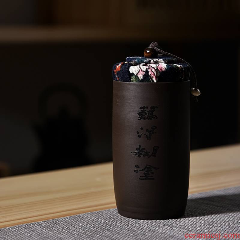 Hui shi violet arenaceous caddy fixings ceramic POTS trumpet pu 'er travel tea caddy fixings portable mini storage sealed as cans