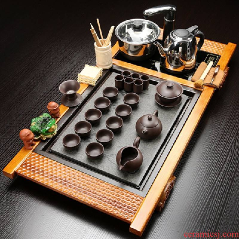 Hui shi violet arenaceous kung fu tea set suit household contracted ceramic induction cooker sharply stone of a complete set of solid wood tea tray