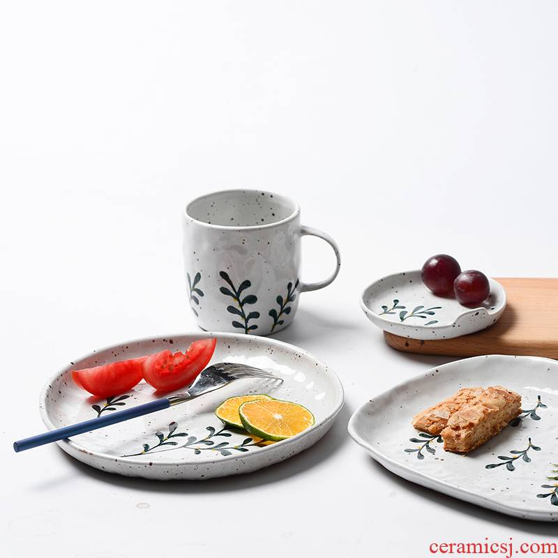 Jingdezhen hand - made blue - and - white hand - made ceramic disc Chinese style restoring ancient ways coarse pottery dish fruit bowl dessert plate characteristics of home stay facility
