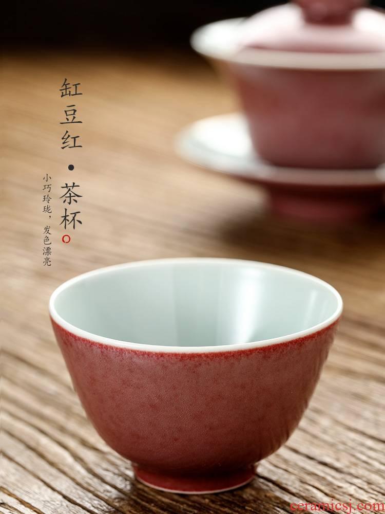 Pure manual cowpea red master cup single CPU jingdezhen ceramic cup sample tea cup glaze color is always single