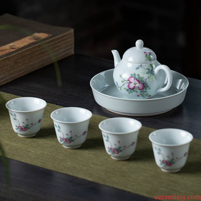 6 head hand - made tea set pastel kung fu tea set jingdezhen ceramic sample tea cup 1 tureen 6 set of tea cups