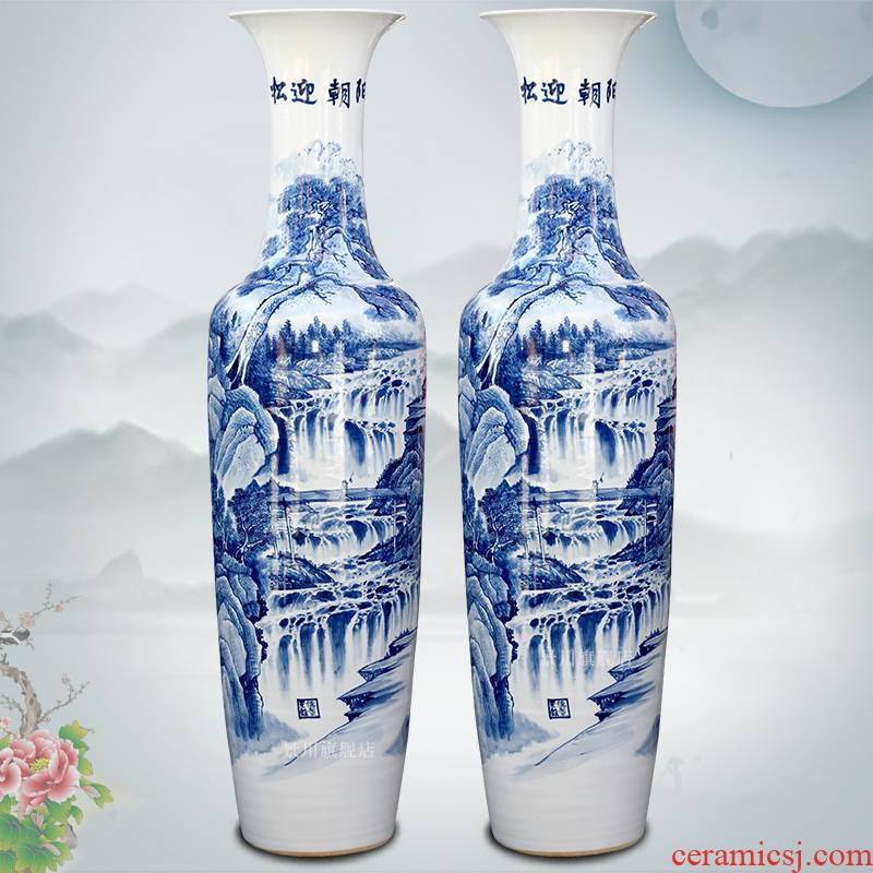 Blue and white porcelain of jingdezhen ceramics hand - made pine greet chaoyang landing big vase home sitting room adornment is placed
