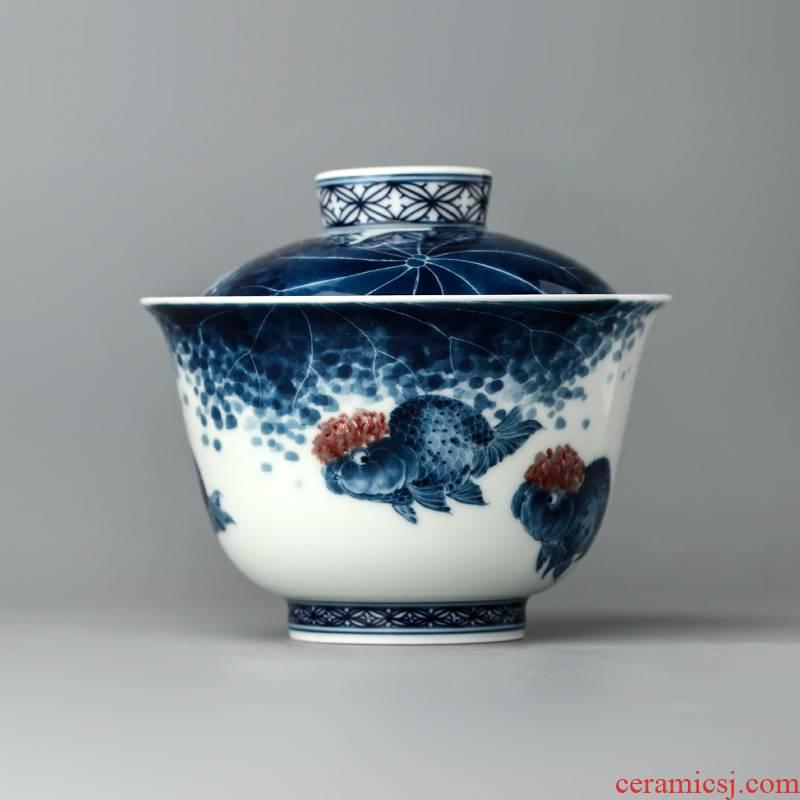 Jingdezhen blue and white youligong kung fu tea tureen tea cups Lin Yuehong pure manual hand - made goldfish bowl is Chinese style