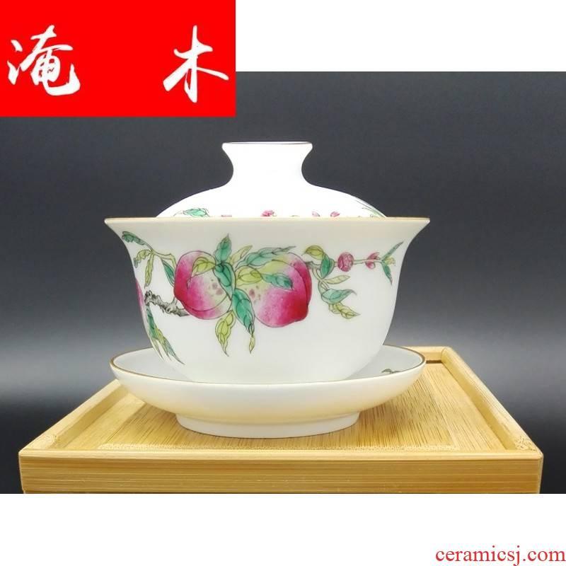 Flooded jingdezhen porcelain all hand empresa pastel peach wood grain three to live long and proper tureen sample tea cup high - grade tea