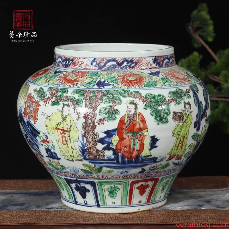 Jingdezhen water - wave imitation yuan colorful porcelain jar fill color porcelain imitation yuanta ancient pot of three wang zhaojun