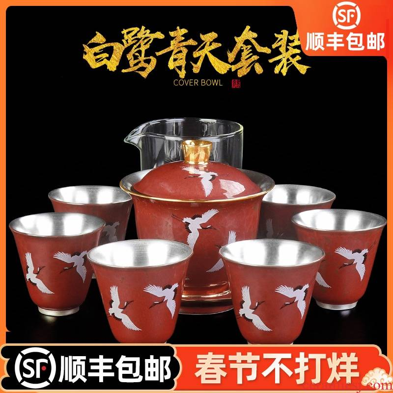 Artisan fairy high - grade coppering. As silver suit hand - made household checking ceramic kung fu tea set suit tureen tea cups