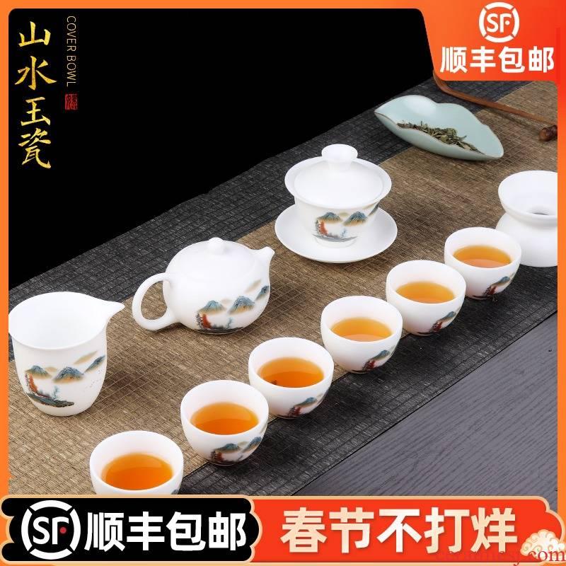 Artisan fairy dehua white porcelain hand - made kung fu tea sets suit household ceramic teapot of a complete set of tea cups