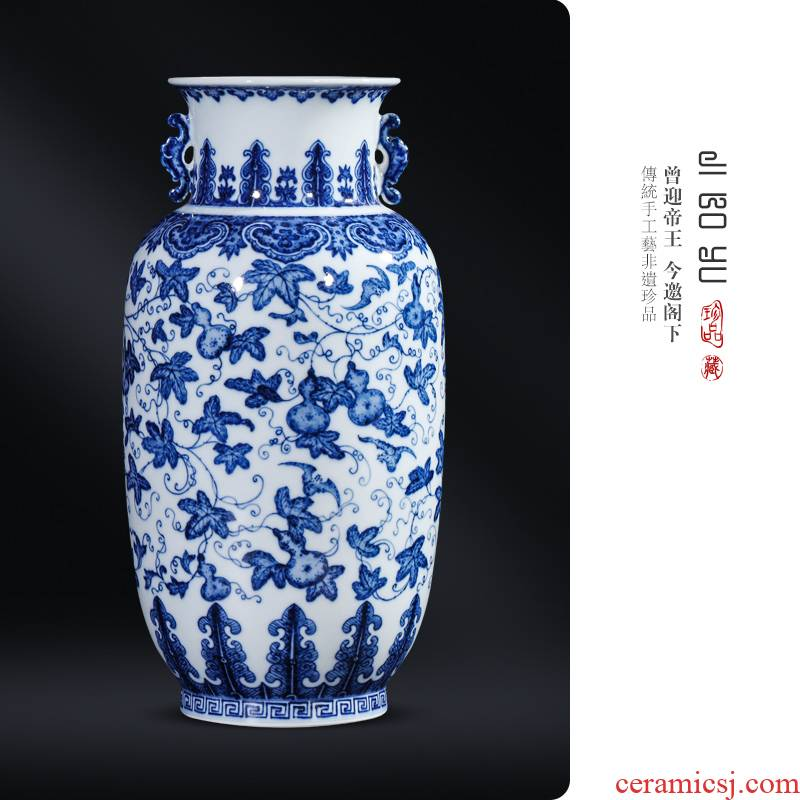Imitation the qing hand - made maintain blue - and - white ferro, vase jingdezhen ceramic Chinese style living room TV cabinet porch is decorated furnishing articles