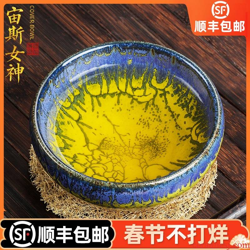 Artisan fairy obsidian variable temmoku oil - lamp can master cup single cup masters hand built ceramic household kung fu tea sample tea cup