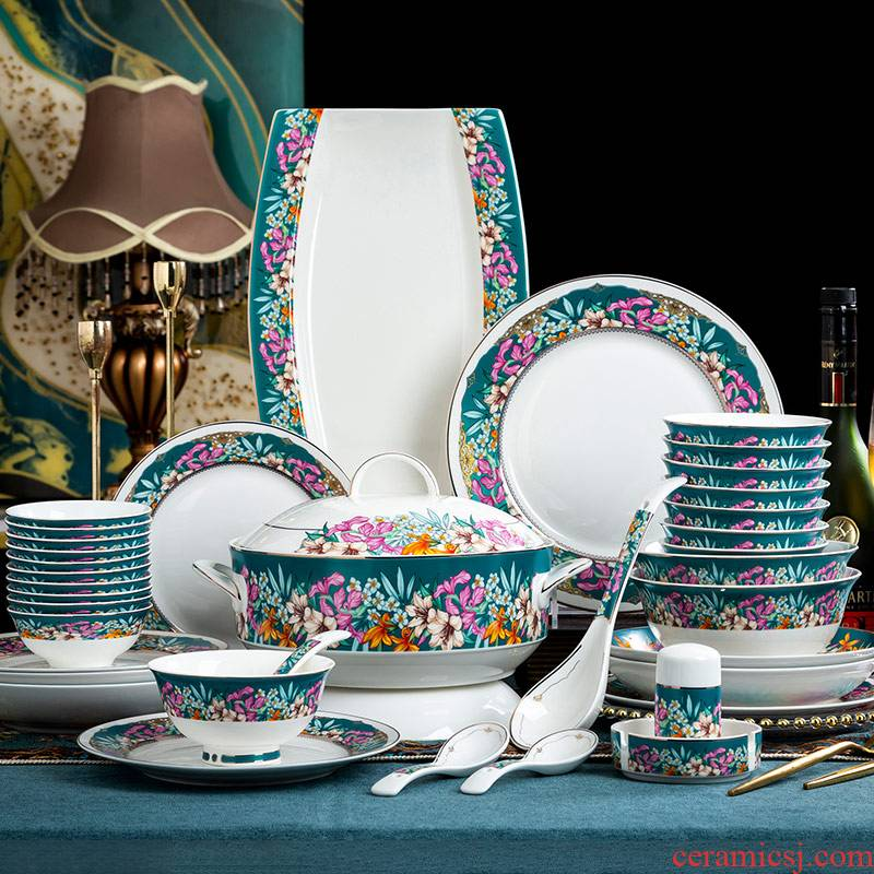 , light and decoration of Chinese style style dishes suit household jingdezhen ceramic tableware colored enamel housewarming high - end dishes