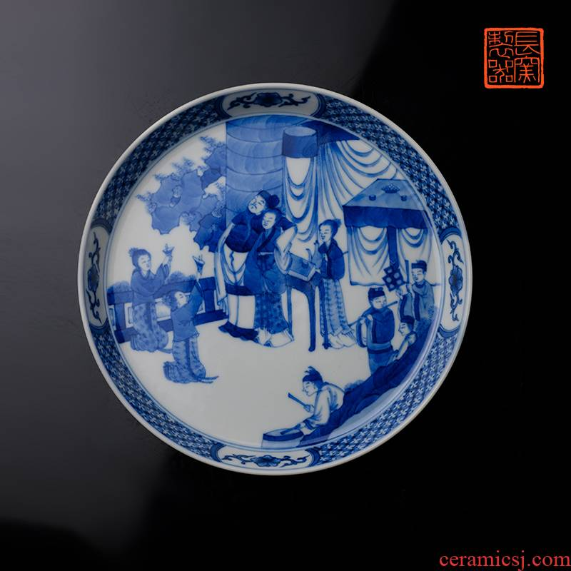 Jack hand - made long up pot bearing jingdezhen blue and white birthday grain pure manual archaize ceramic tea tray tea set