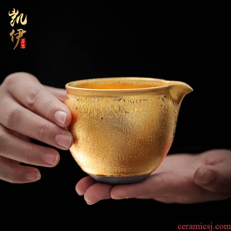 Zeng, Guangxu master hand made gold points tea tea tea fair temmoku up ceramic cup tea accessories