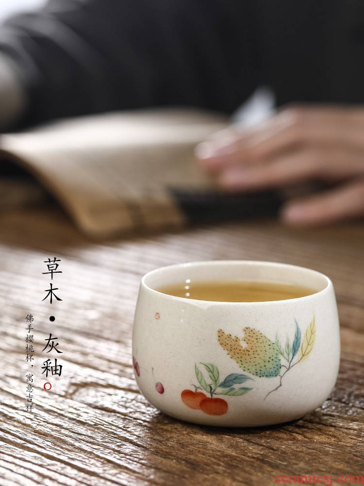 Jingdezhen plant ash glaze masters cup kung fu tea set pure manual sample tea cup single CPU hand - made ceramic cups only