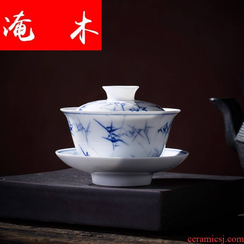 Submerged wood tureen hand - made of blue and white porcelain cups do only three cups of tea bowl of jingdezhen kung fu tea set by hand