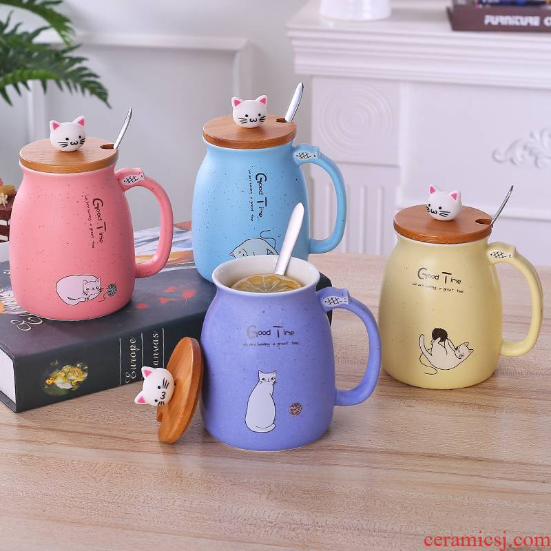 Super of creative mugs contracted wooden cover it with a spoon, meow star household glass ceramic keller cup express children personalities