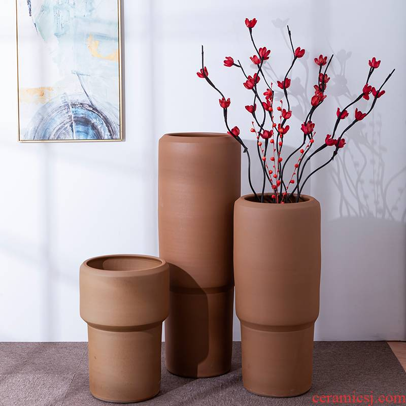 Boreal Europe style floor vase furnishing articles ceramic I and contracted large caliber dry flower vase flowerpot Chinese simulation