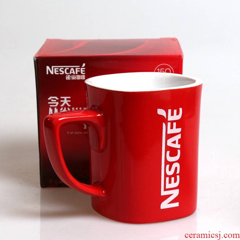 Glass ceramic spoon package mark the new coffee cup classic contracted new boxed cup nestle, a little red
