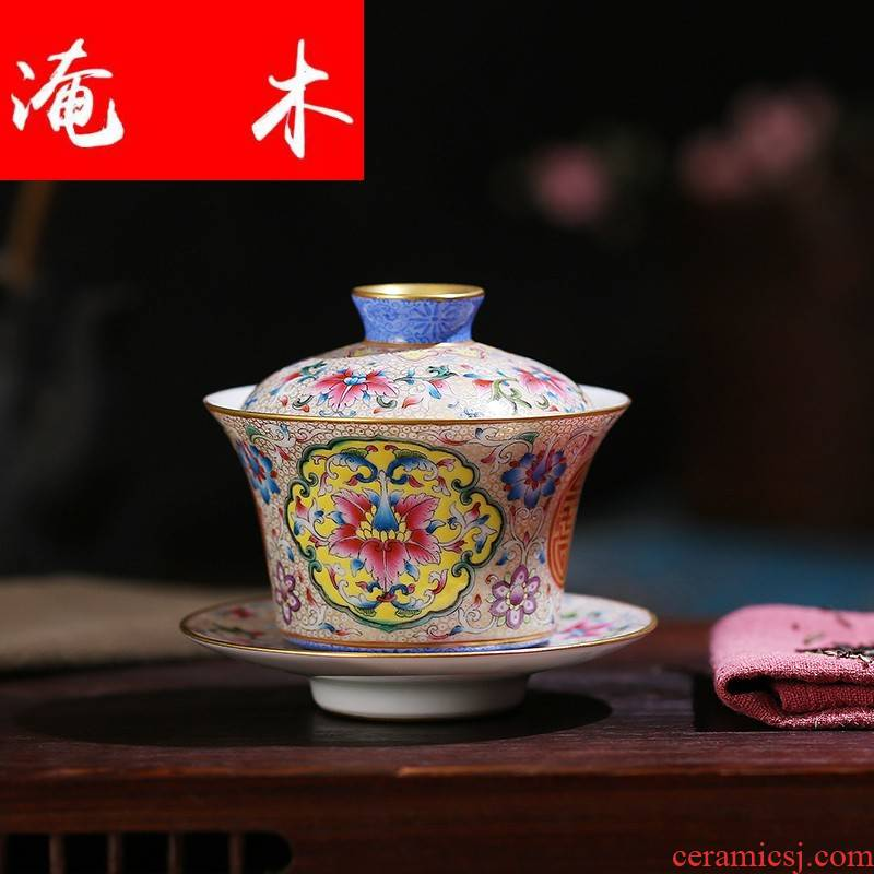 Submerged wood jingdezhen all hand hand draw pastel colored enamel paint only three tureen tea bowl cups kung fu